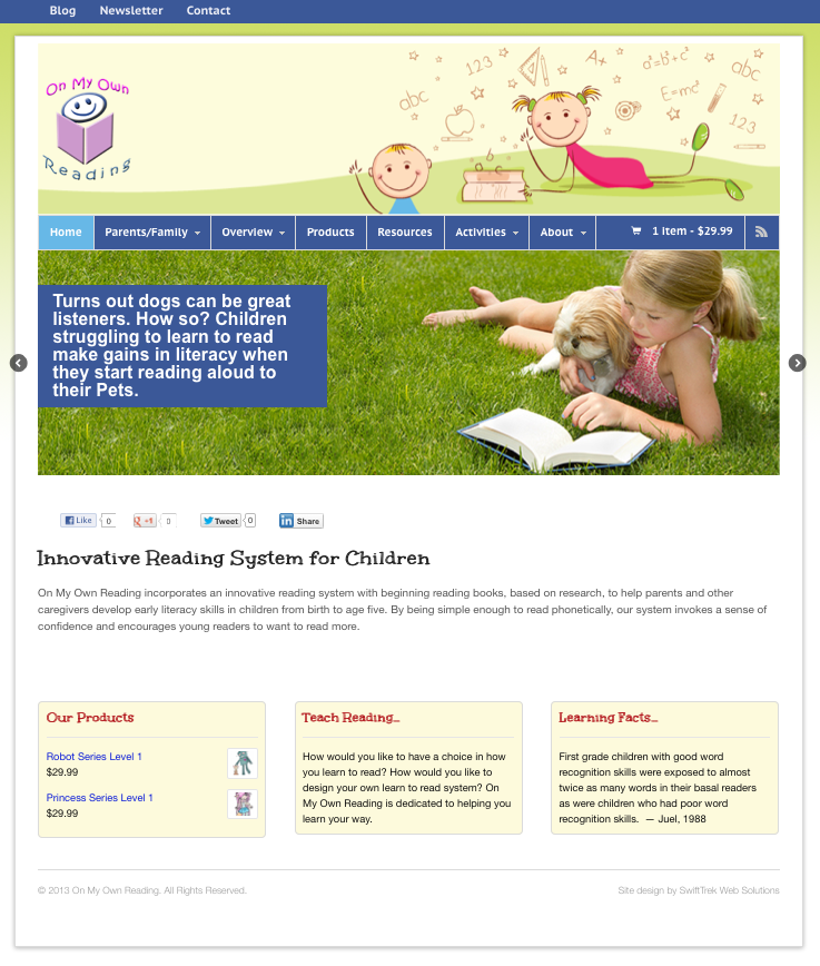 On My Own Reading home page design