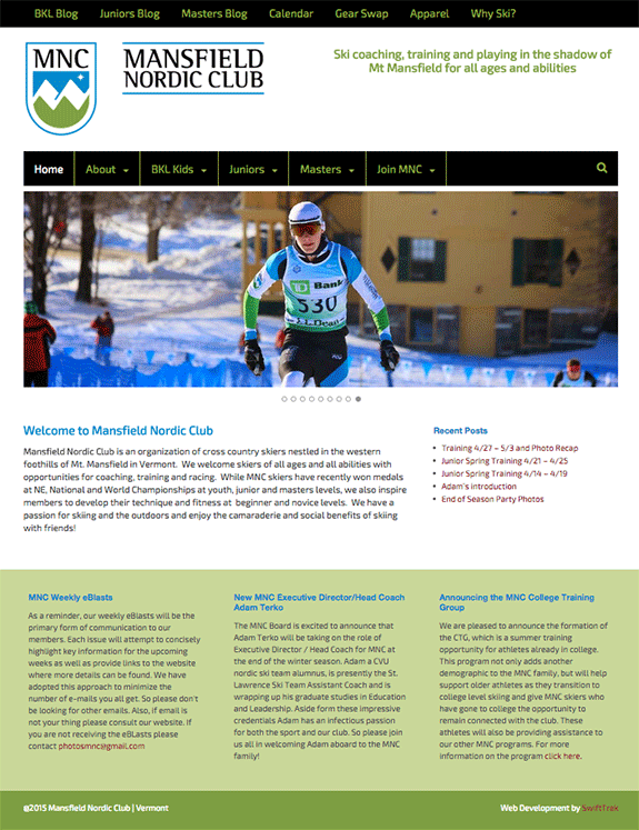Mansfield Nordic Club home page design