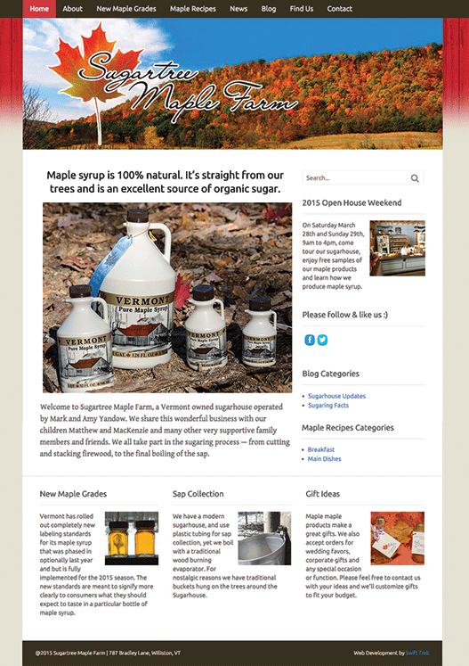 Sugartree Maple Farm home page design