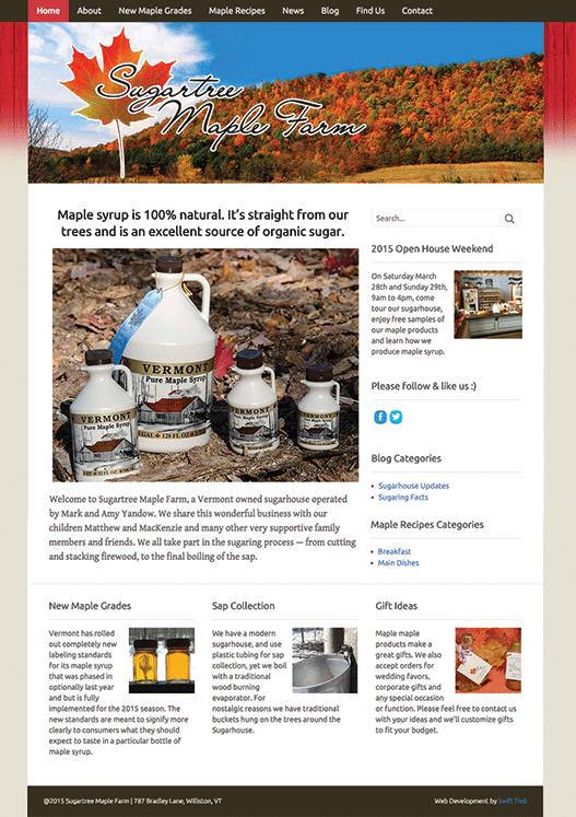 Sugartree Maple Farm home page design
